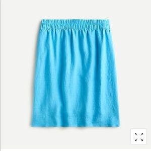 J. Crew pull on blue linen skirt XL D1